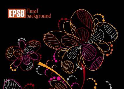 Colorful flowers line draft 03 vector