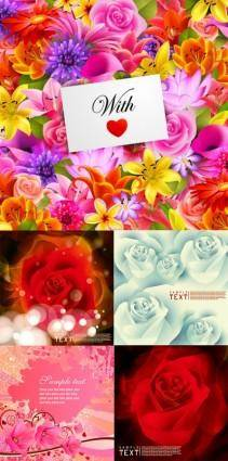 free vector Flowers card background vector
