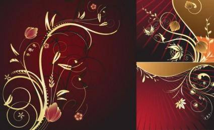 free vector European gold flower pattern vector