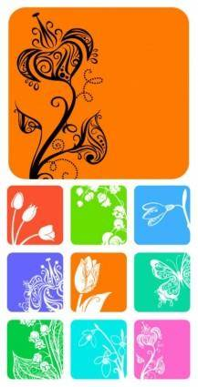 9 small flower pattern silhouette vector