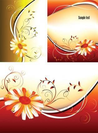 3 flower pattern background vector