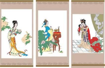 free vector Vector diao chan worship the drunken beauty ladies flowers vector figure