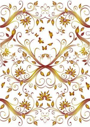 free vector Flower background with butterfly pattern vector