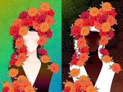 free vector Woman with flowers vector 2