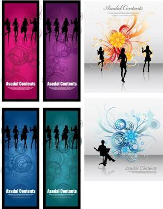 free vector Fashionable female silhouette vector flowers background