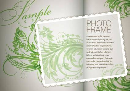 Plant flowers and patterns of text in the background vector