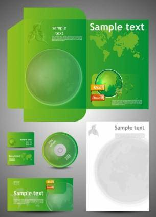 free vector Green card template 05 vector