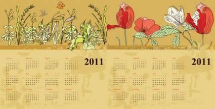 free vector Two flowers calendar 2011 vector