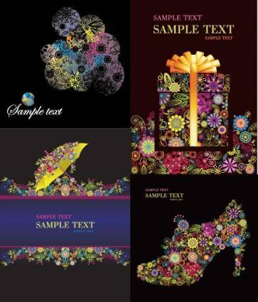 4 colorful flower theme vector