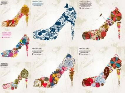 Flowers vector composed of high heels