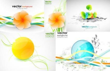 free vector Dynamic lines of the shape of flowers vector