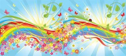 Vector colorful flowers in the world