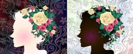 Woman with flowers vector 1