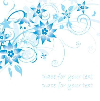 Simple handpainted flowers and blue text background pattern vector 1