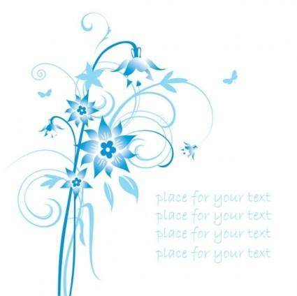 Simple handpainted flowers and blue text background pattern vector 2