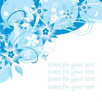 Simple handpainted flowers and blue text background pattern vector 3