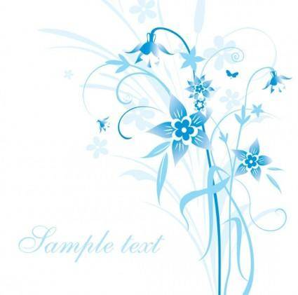 Simple handpainted flowers and blue text background pattern vector 5