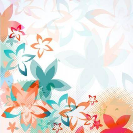 free vector Colorful flowers background pattern 01 vector