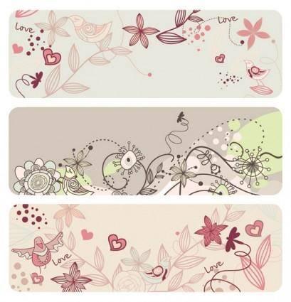 free vector Fashion cute bird flowers vector 2