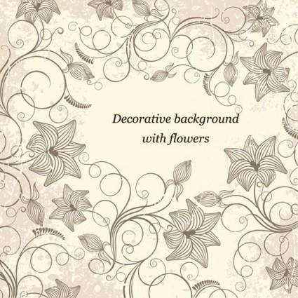free vector Decorative Background with Flowers Vector Art