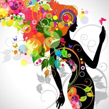 free vector Colorful Floral Girl Silhouette