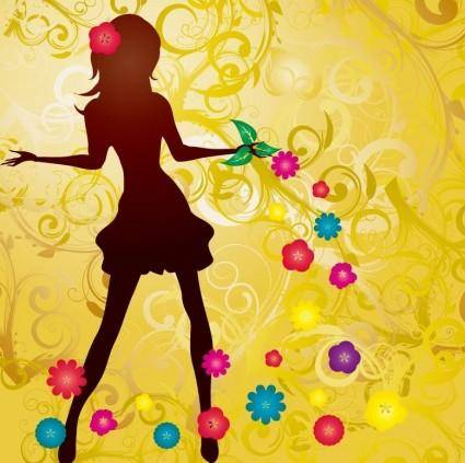 free vector Girl with Flowers Vector illustration