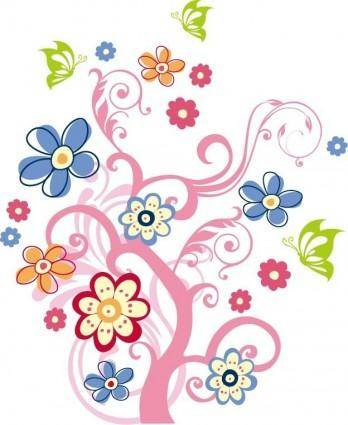 Tree with Flowers Vector Graphic