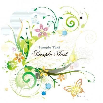 free vector Water Color Floral Frame Vector illustration