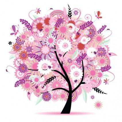 free vector Tree with Flowers Vector Illustration