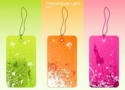 free vector Free Vector Flowered Grunge Labels