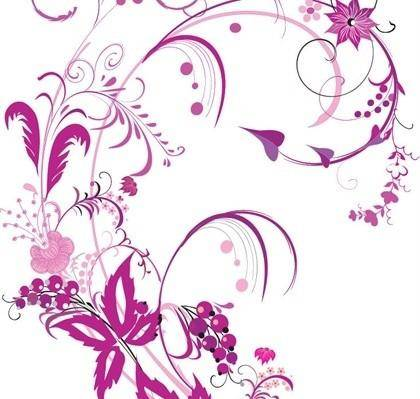 free vector Free Vector Graphic  Purple Swirls and Flowers