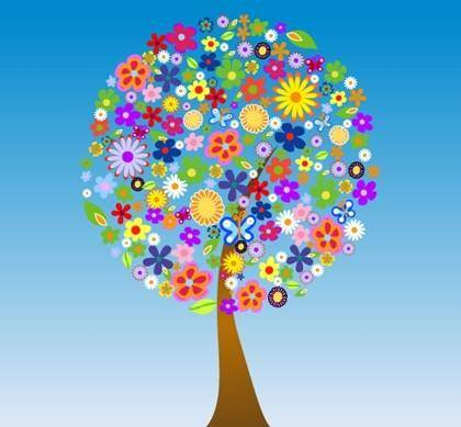 Free Vector Flower Tree
