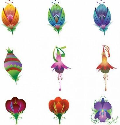 free vector 9 Illustrated Vector Flowers