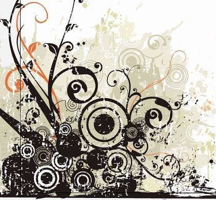 free vector Black Flowers Swirls Vector
