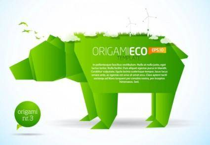 free vector Green origami animals 01 vector