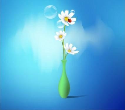 free vector Spring flowers vase