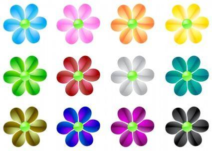 free vector Glass Flowers