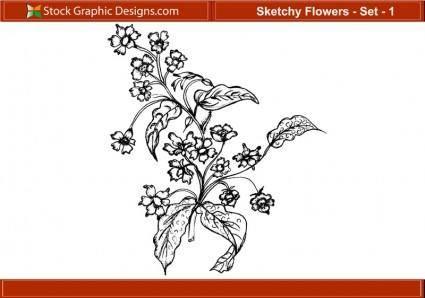 free vector Sketchy Flowers