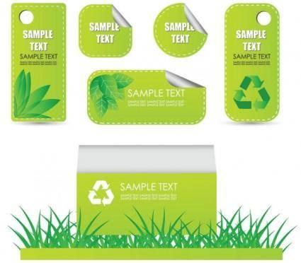 free vector Beautiful green label 02 vector