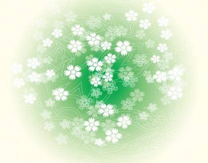 Round Green Flower Vector Graphic