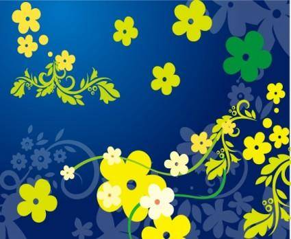 free vector Green Floral Vector in Blue Backgro