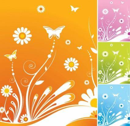 free vector Spring Flowers Butterfly Vector