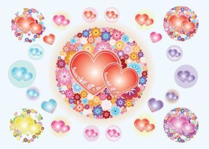 free vector Heart Flowers Vectors
