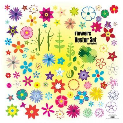 free vector Colorful Summer Flowers