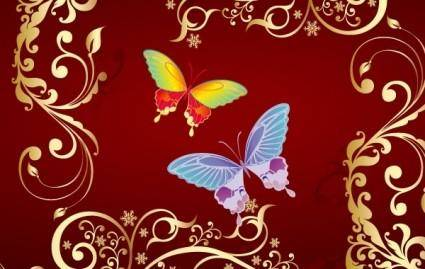 free vector Butterfly Flowers vector