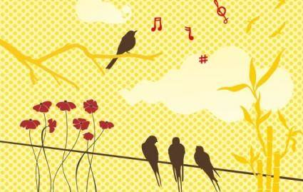 free vector New free vector set: birds & flowers