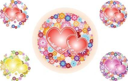 free vector Flowery Hearts Vector