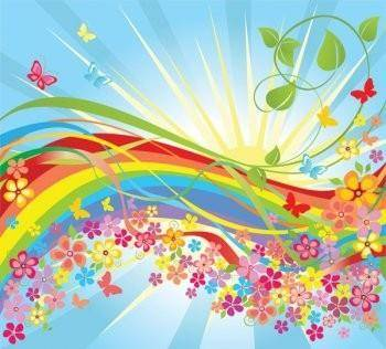 free vector Colorful flower in the world