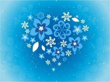 Beautiful blue flowers love design vector pattern eps