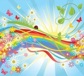 free vector Colorful flower vector in the world